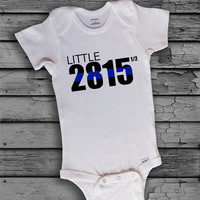 Personalized Little Custom Police Thin Blue Line Badge Number Baby Boy Onesuit Clothing