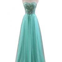Gorgeous Bridal 2016 Crystal Prom Dress Long Strapless Lace Up A-line Gown