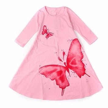 2017 New Girls Dress Spring Autumn Children's clothing cute butterfly long sleeve 2 colors cotton dresses 1pcs hot sale
