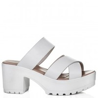 Buy BEEK Heeled Cleated Sole Platform Sandal Shoes White Leather Style Online