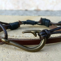 FREE SHIPPING-Mens Leather Bracelet, Woman Leather Jewelry, Brown Leather, Nautical Bronze, Leather Bracelet