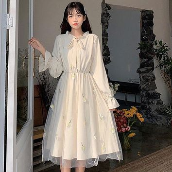 Long Sleeve Dress Women Patchwork Bow Collar Embroidery Elegant College Trendy Causal Holiday Lovely Apricot