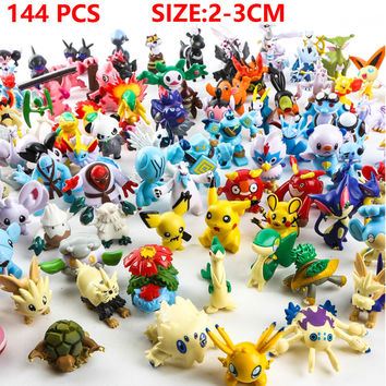 144 Pcs lot 2-3 cm Pikachu Action Figure Toys Japanese Cartoon Anime Mini Collections Birthday Gifts Cartoon doll toy