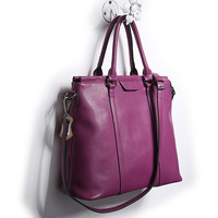 Large Magenta Leather Satchel Tote Handbag