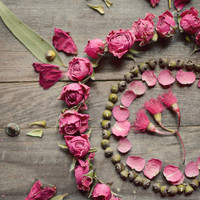 """Still life photography, dried roses, flower photography, pink flower petals, rustic wall art, wood, country, seed pods 8x10 - """"Rose Mandala"""""""