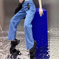 Louis Vuitton new full-print blue high-waist jeans street style hip-hop loose straight wide-leg pants denim trousers
