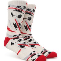 Vans Van Doren Palm Crew Socks - Mens Socks - White - One