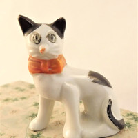 Funny Fugly Cat, Porcelain Cat Figurine, Made in Japan Cat Collectible, White Black Spots Orange Bow Glass Cat, Vintage 1930's Lusterware