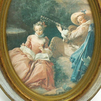 Vintage wood-frame picture with woman reading man playing musical instrument - Made in Italy - Antique Italian framed art wall hanging