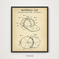 Baseball Cap Patent Print, Digital Download, Baseball Nursery Decor, Sports Cap Blueprint, MLB Baseball League Poster, Man Cave Wall Art