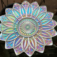 Carnival Glass clear iridescent glass serving bowl in the Petal Pattern by Federal Glass 1960s D077