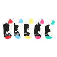 Disney Princess Silhouette No-Show Socks 5 Pack