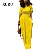 XURU Autumn Pencil Dress Black Yellow Red Half Sleeve Slim Waits Pockets Long Dresses Elegant Lady Casual Party Dress