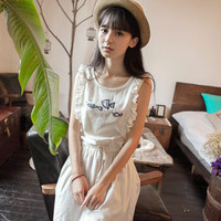 White Fish Designed Sleeveless Flouncing Mini Dress