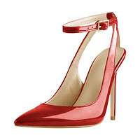 Red Slingback Ankle Strap Pumps Pointed Toe Stiletto