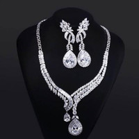 Big Water Drop Wedding Jewelry Set Cubic Zircon Neckalce & Earrings Prong Setting Platinum Plated Lead Free