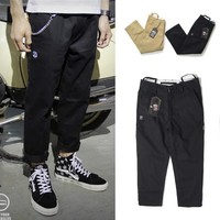 Casual Pants Men's Fashion Cotton Embroidery Cropped Pants [6543160259]