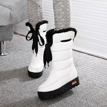 3Colors Ladies Platform Snow Boots Mid-calf Thicken Warm Women Boots Casual Botas Mujer Comfortable Winter Shoes Woman WSH195