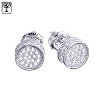 Jewelry Kay style Men's Fashion Fully Iced Out CZ 3D Round Bling Screw Back Stud Earrings SHS 643
