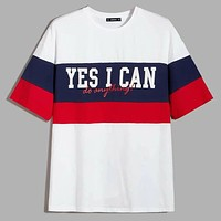 Fashion Casual Men Slogan Graphic Colorblock Tee