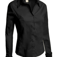 LE3NO Womens Lightweight Tailored Button Down Shirt with Stretch (CLEARANCE)