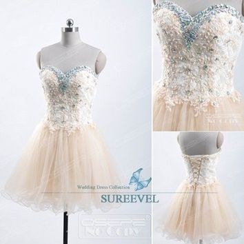 Champagne Short Mini Homecoming Dress Ball Gown Evening Dress Party Prom Dresses
