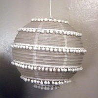 Two paper lanterns: flowers and pom poms - Crafty Nest