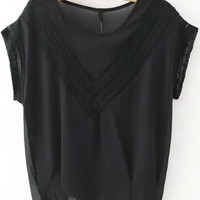 Black V-Shape Crochet Patchwork Short Sleeve Blouse