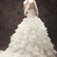 Halter Ball Gown with Tulle Petal Skirt - David's Bridal- mobile