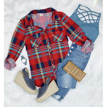 Penny Plaid Flannel Top - Navy/Red/Yellow