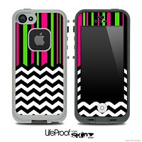 Mixed Pink and Green Striped and Chevron Pattern Skin for the iPhone 5 or 4/4s LifeProof Case