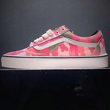 VANS Tide brand fashion classic skateboard camouflage canvas low cut shoes F0619-1 Pink