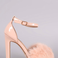 Fluffy Fur Band Ankle Strap Thick Heel