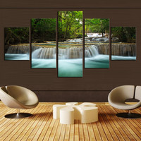 (No Frame)5 Pcs Waterfall Painting Canvas Wall Art Picture Home Decoration Living Room Canvas Print Painting--Large Canvas Art