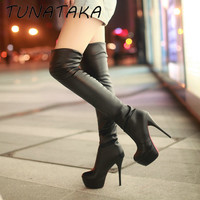 Womens Sexy Slim Stretch Thigh High Boots Faux Leather Platform High Heel Over the Knee Boots Black Brown White