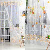 Yellow Organdy Butterfly Design Curtains