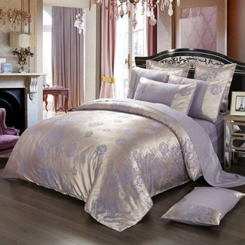 BEYOND CLOUD 4 Pieces AB Sides Bedding Set Home/Hotel King Queen Luxury Design Quality Bed Sheet Duvet Cover Pillow Shams 021