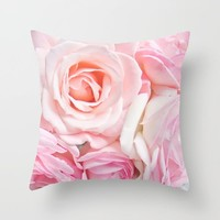 pink roses Throw Pillow by sylviacookphotography