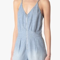 Short Romper in Stretch Chambray