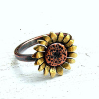 Sunflower Ring Copper and Brass Metalwork - MADE TO ORDER