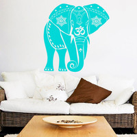 Indian Elephant Wall Decal Mandala Vinyl Stickers Safari Decals Om Sign Art Mural Home Bedroom Design Interior Animal Living Room Decor KI12
