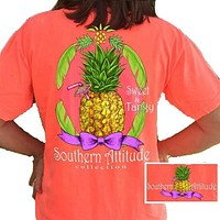 Southern Attitude Preppy Sweet Pineapple Neon Red Orange T-Shirt