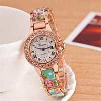 Womens Luxury Floral Watch Gilrl Diamond Party Watches Best Christmas Gift