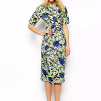 Floral Print Short Sleeve with Side Pocket Pleated Midi Dress