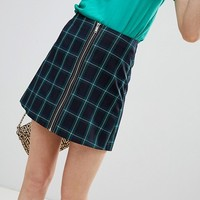 Stradivarius Check A Line mini skirt at asos.com