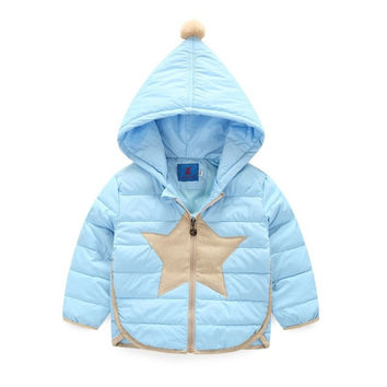 Winter Coats Girls Boys Clothes 2016 Windproof Kids Jacket Outerwear 100%White Duck Down Coat Star Print Kids Outerwear Clothes