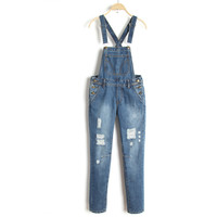 Summer Casual Rinsed Denim Slim Stretch Jeans Romper [6332305668]