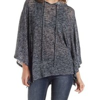 Black Combo Marled Poncho Hoodie by Charlotte Russe