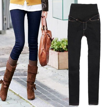 Women's Maternity Adjustable Waistband Skinny Pants Jeans Long Trousers Jeans clothes 19812 = 1745554628