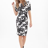 FOREVER 21 Floral Print MatelassA(c) Dress White/Black